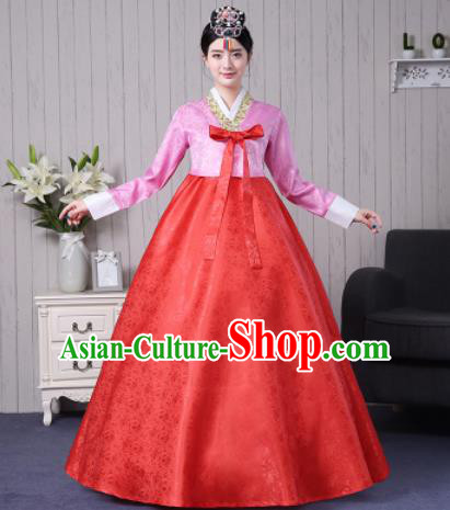 Traditional Korean Palace Costumes Asian Korean Hanbok Bride Pink Blouse and Red Skirt for Women