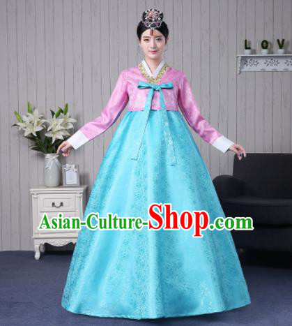 Traditional Korean Palace Costumes Asian Korean Hanbok Bride Pink Blouse and Blue Skirt for Women