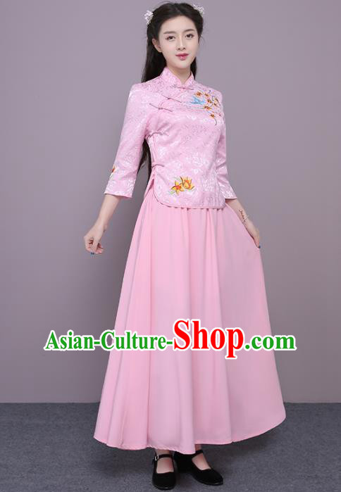 Chinese Ancient Bridesmaid Costumes Traditional Embroidered Pink Qipao Blouse and Skirt for Women