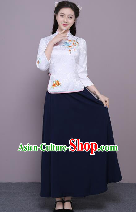 Chinese Ancient Bridesmaid Costumes Traditional Embroidered White Qipao Blouse and Navy Skirt for Women