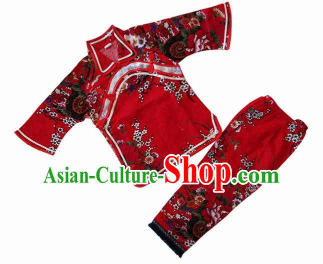 Chinese Traditional Folk Dance Costumes Stage Performance Clothing for Kids