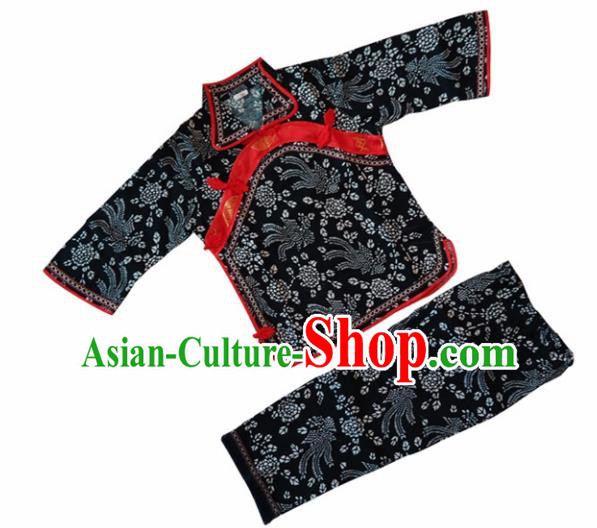 Chinese Traditional Folk Dance Black Costumes Stage Performance Clothing for Kids