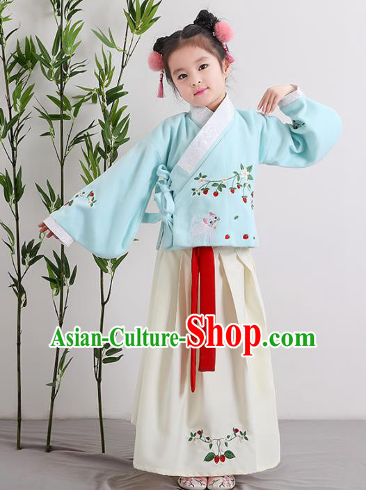 Chinese Ancient Ming Dynasty Children Costumes Traditional Blue Blouse and Beige Skirt for Kids