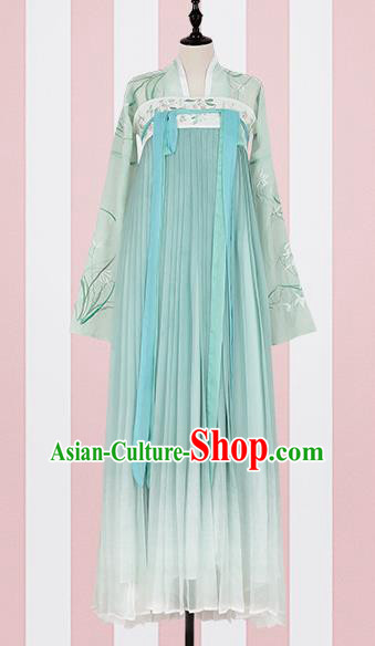 Chinese Ancient Costumes Traditional Tang Dynasty Princess Green Hanfu Dress for Women