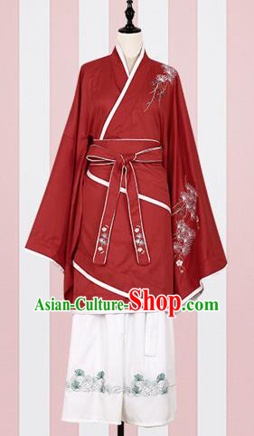Chinese Ancient Fairy Costumes Traditional Han Dynasty Princess Red Hanfu Dress for Women