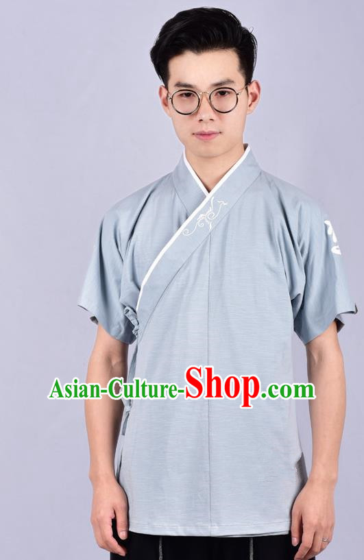 Chinese Ancient Swordsman Hanfu Costume Tang Suit Blue Shirt for Men