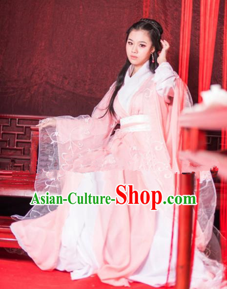 Chinese Ancient Cosplay Peri Goddess Pink Hanfu Dress Traditional Han Dynasty Imperial Consort Costume for Women