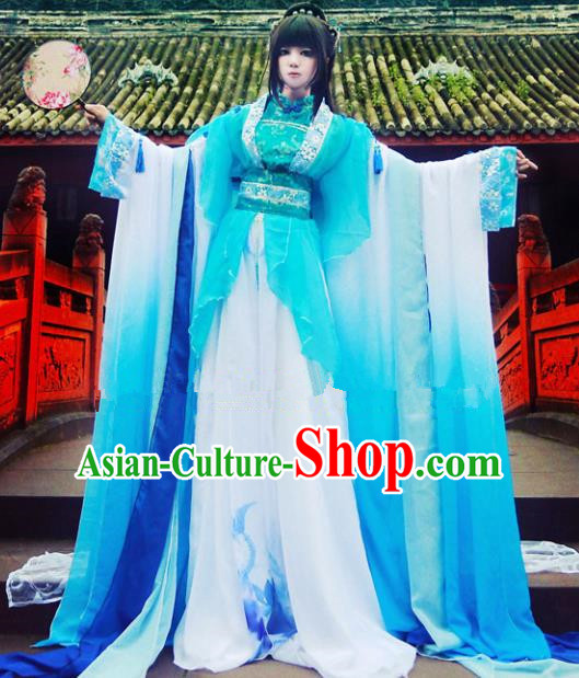Chinese Ancient Cosplay Peri Goddess Blue Hanfu Dress Traditional Tang Dynasty Princess Costume for Women