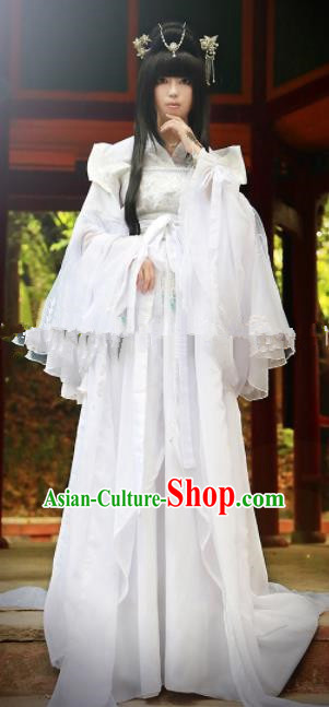 Chinese Ancient Cosplay Peri Goddess Hanfu Dress Traditional Han Dynasty Princess White Costume for Women