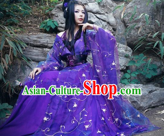 Chinese Ancient Cosplay Peri Goddess Purple Hanfu Dress Traditional Tang Dynasty Imperial Consort Costume for Women