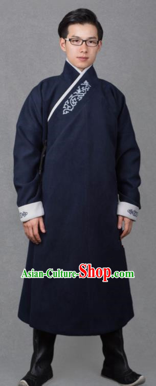 Chinese Ancient Imperial Guards Navy Robe Traditional Ming Dynasty Swordsman Costume for Men
