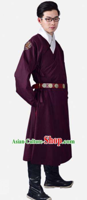 Chinese Ancient Swordsman Wine Red Clothing Traditional Ming Dynasty Buster Costume for Men