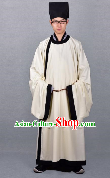 Chinese Ancient Traditional Song Dynasty Scholar Costumes Beige Robe for Men