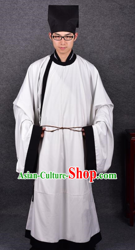 Chinese Ancient Traditional Song Dynasty Scholar Costumes White Robe for Men
