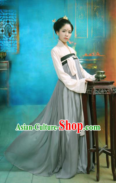 Chinese Ancient Tang Dynasty Palace Princess Embroidered Costume for Rich Women