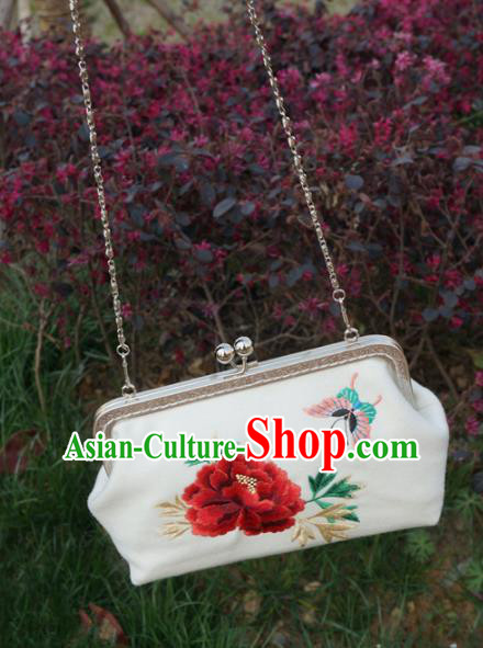 Traditional Chinese Embroidered Peony Bag Handmade White Silk Handbag for Women