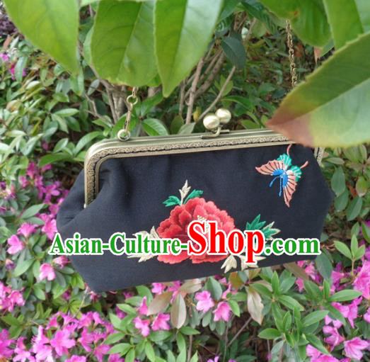 Traditional Chinese Embroidered Peony Bag Handmade Black Silk Handbag for Women