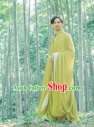 Chinese Ancient Traditional Han Dynasty Yellow-green Cloak Scholar Swordsman Costumes for Men