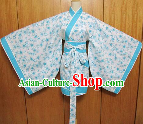 Traditional Chinese Han Dynasty Costume Ancient Princess Blue Curving-Front Robe for Women