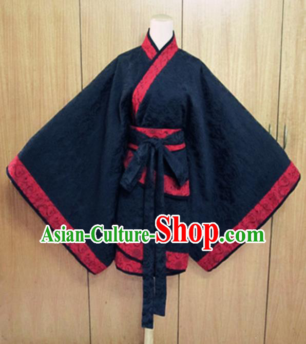 Traditional Chinese Han Dynasty Costume Ancient Princess Navy Curving-Front Robe for Women