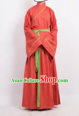 Traditional Chinese Song Dynasty Young Lady Costume Ancient Red Hanfu Dress for Women
