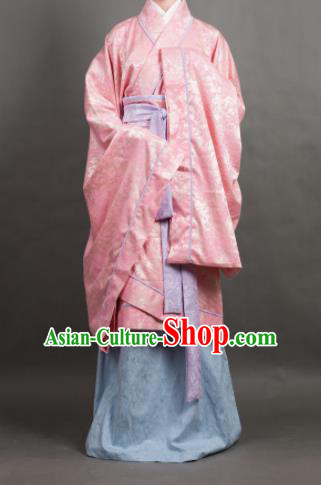 Traditional Chinese Han Dynasty Dowager Costume Ancient Pink Curving-Front Robe for Women