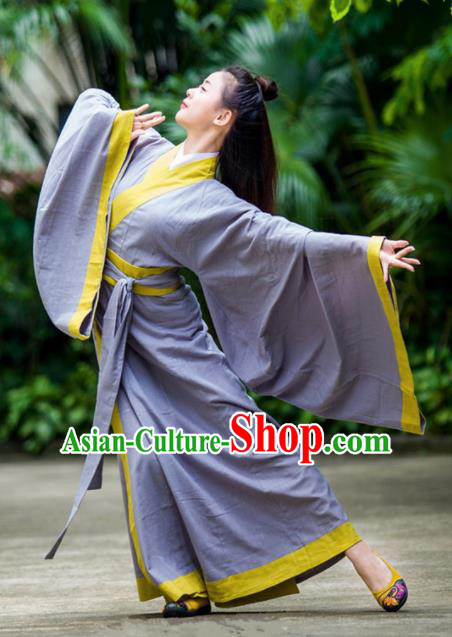 Traditional Chinese Han Dynasty Princess Costume Ancient Purple Curving-Front Robe for Women