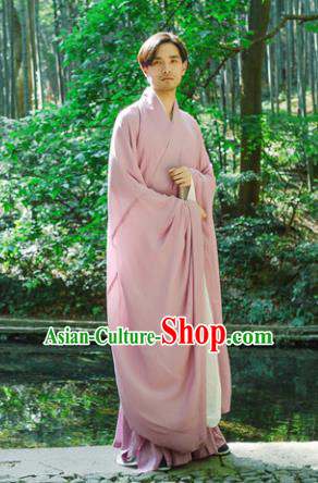 Chinese Ancient Traditional Han Dynasty Pink Wide Sleeve Robe Scholar Swordsman Costumes for Men