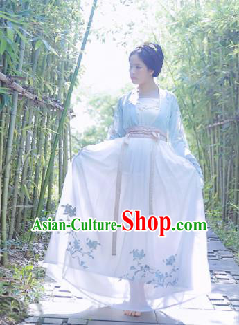 Chinese Ancient Nobility Lady Embroidered Dresses Tang Dynasty Costume for Rich Women