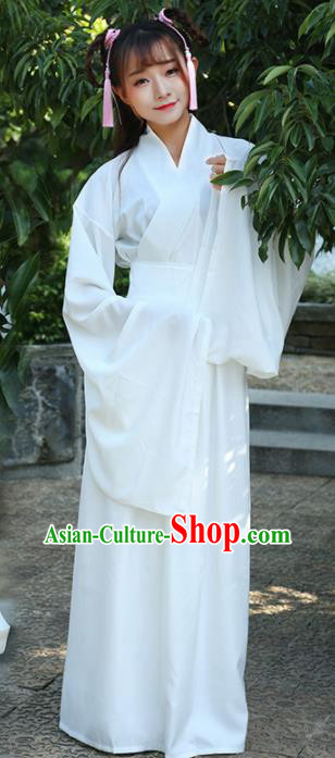 Chinese Ancient Fairy White Dress Jin Dynasty Costume for Rich Women