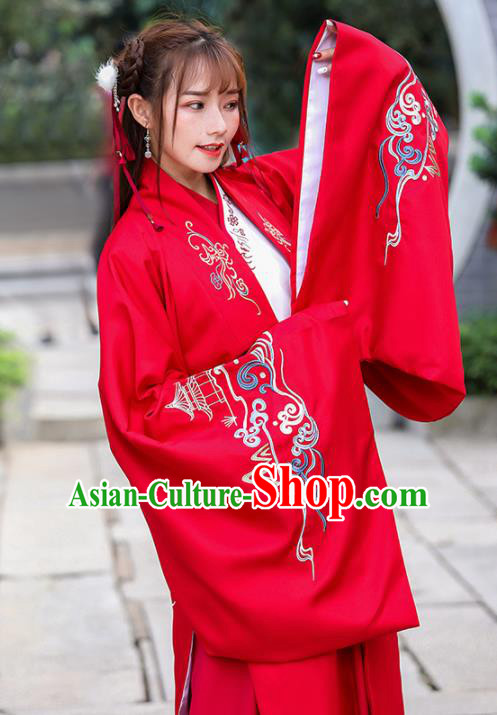 Chinese Traditional Ming Dynasty Princess Costume Ancient Embroidered Red Cloak for Rich Women