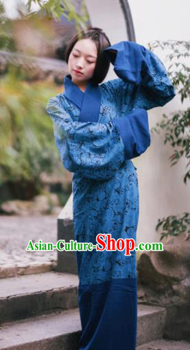 Traditional Chinese Han Dynasty Princess Costume Ancient Blue Curving-Front Robe for Women