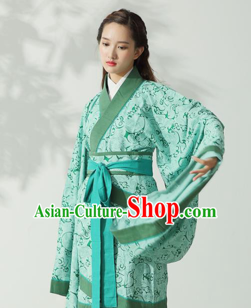 Traditional Chinese Han Dynasty Princess Costume Ancient Light Green Curving-Front Robe for Women