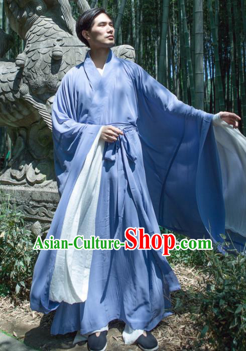 Chinese Ancient Traditional Jin Dynasty Blue Straight-Front Robe Scholar Swordsman Costumes for Men