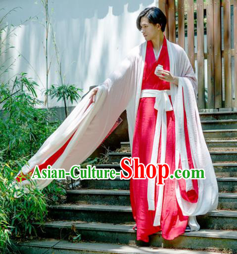 Chinese Ancient Traditional Jin Dynasty Swordsman Costumes Scholar Red Straight-Front Robe for Men