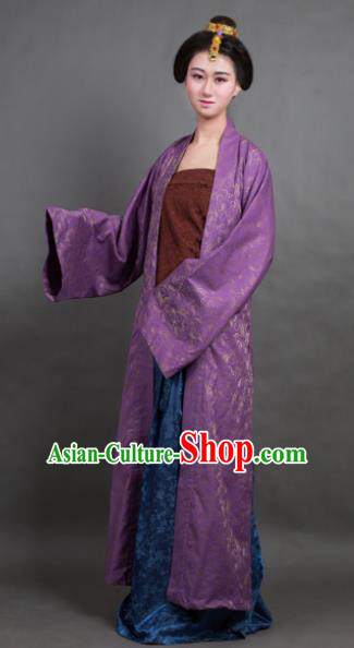Traditional Chinese Song Dynasty Countess Purple BeiZi Costume Ancient Hanfu Dress for Rich Women