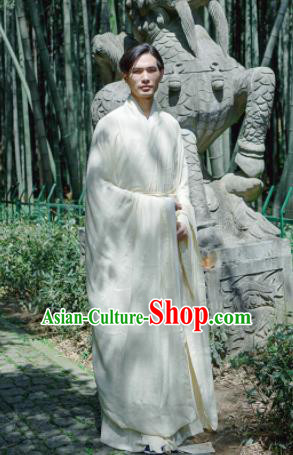 Chinese Ancient Traditional Han Dynasty Beige Wide Sleeve Robe Scholar Swordsman Costumes for Men