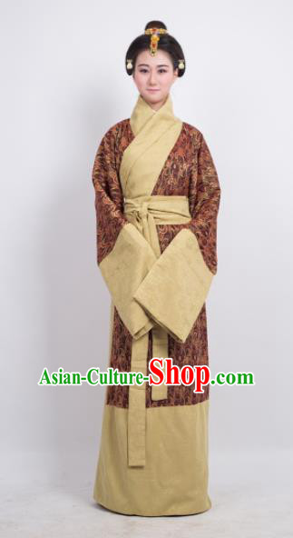 Traditional Chinese Han Dynasty Countess Brown Curving-Front Robe Ancient Palace Lady Costume for Women