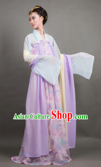 Traditional Chinese Tang Dynasty Maidenform Purple Hanfu Dress Ancient Palace Princess Costume for Women