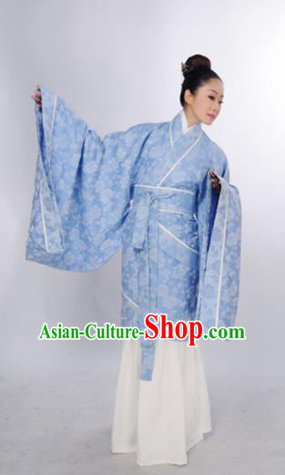 Traditional Chinese Han Dynasty Marquise Costume Ancient Princess Blue Curving-Front Robe for Women