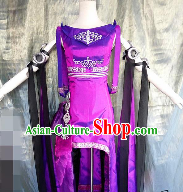 Asian Chinese Cosplay Costume Ancient Swordswoman Purple Dress for Women