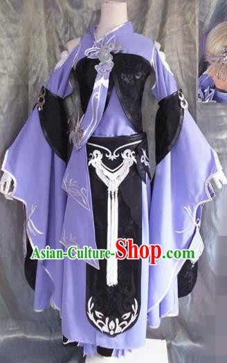 Asian Chinese Cosplay Young Lady Costume Ancient Swordswoman Dress for Women