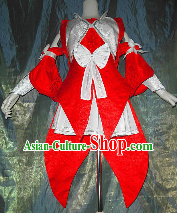 Asian Chinese Cosplay Peri Young Lady Costume Ancient Swordswoman Red Dress for Women