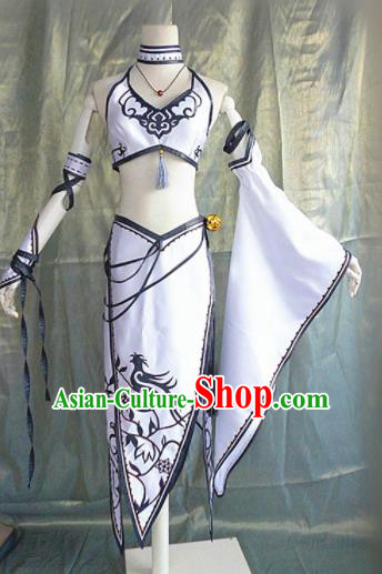 Asian Chinese Cosplay Peri Faery Costume Ancient Swordswoman Dress for Women