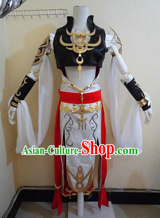 Asian Chinese Cosplay Female Swordsman Costume Ancient Knight Dress for Women