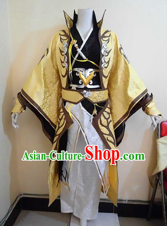 Asian Chinese Cosplay Royal Highness Golden Customized Costume Ancient Swordsman Clothing for Men