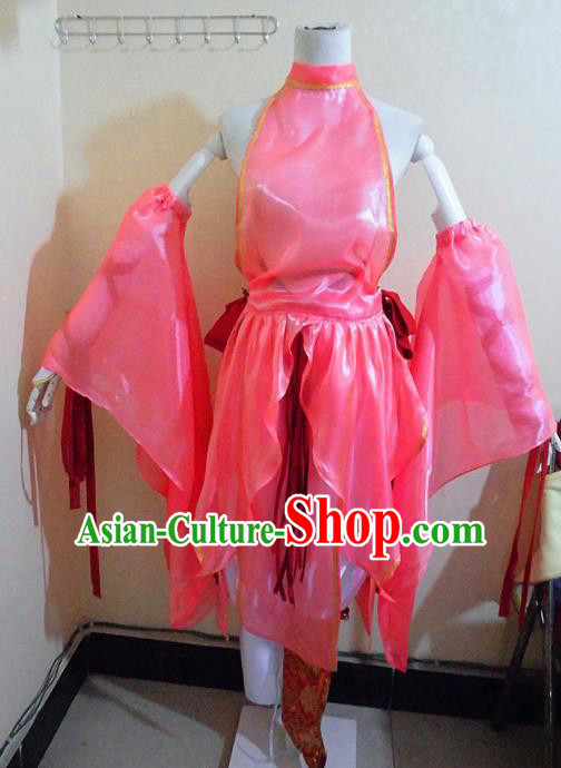 Asian Chinese Cosplay Female Swordsman Costume Ancient Young Lady Knight Pink Dress for Women