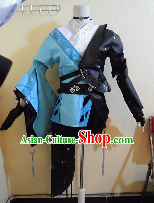 Asian Chinese Cosplay Female Swordsman Blue Costume Ancient Young Lady Clothing for Women