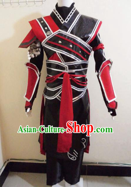 Asian Chinese Cosplay General Black Customized Costume Ancient Swordsman Clothing for Men