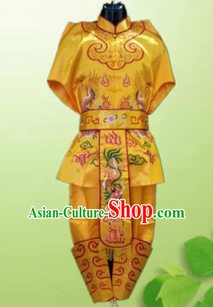 Traditional Chinese Beijing Opera Takefu Costume Drum Dance Yellow Clothing for Men